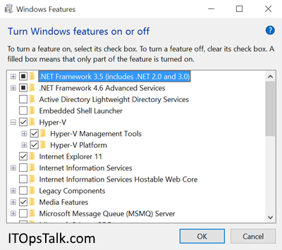 Windows Features: Turn Windows features on or off