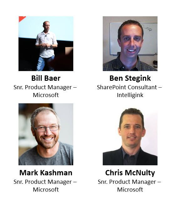 Left to right, top to bottom: Bill Baer – senior product manager (SharePoint/Microsoft) [co-host], Ben Stegink – SharePoint consultant (Intelligink) [guest], Mark Kashman – senior product manager (SharePoint/Microsoft) [co-host] and Chris McNulty – senior product manager (SharePoint/Microsoft) [co-host].
