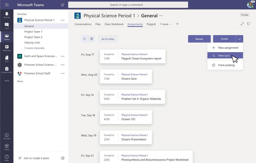Create a new quiz in Microsoft Teams