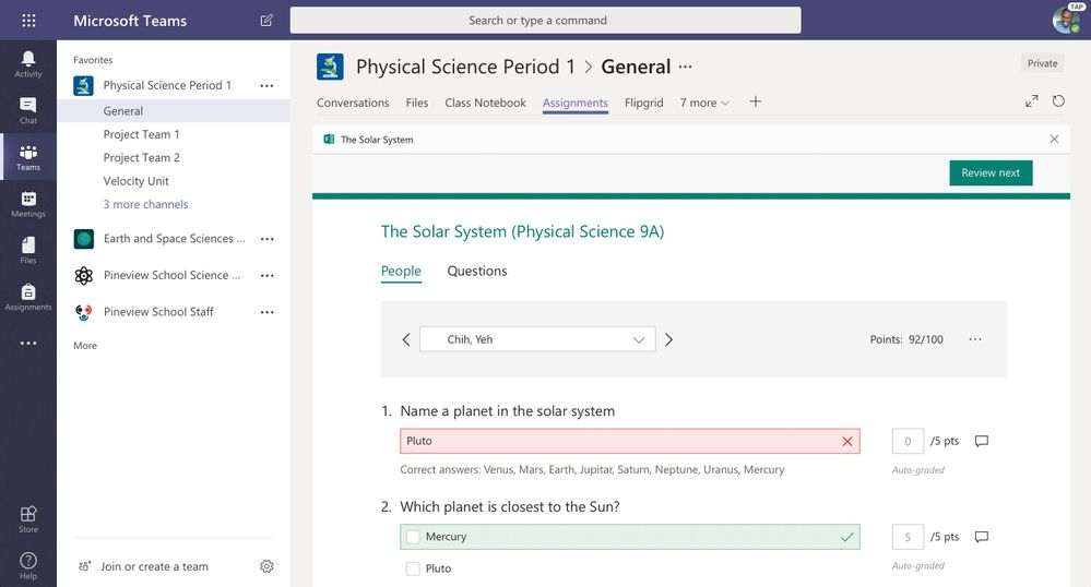 Review student work in Microsoft Forms