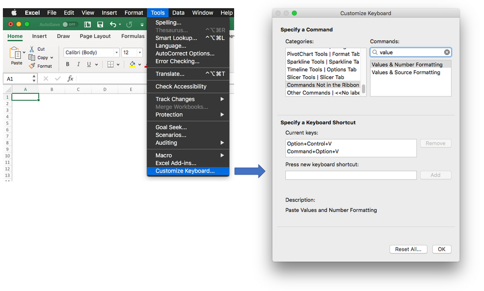 screen shot of Customize Keyboard in Excel for Mac