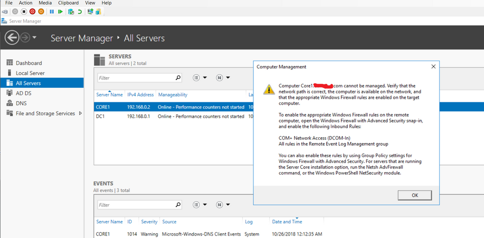 As you can see in the picture above, I'm trying to manage Core1 via DC1 and get this error.