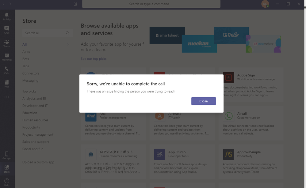 Sorry, we're unable to complete the call - Microsoft Teams from Dynamics 365