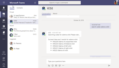 """Actual ICD10 bot (aptly named """"ICD2"""") running in Microsoft Teams."""