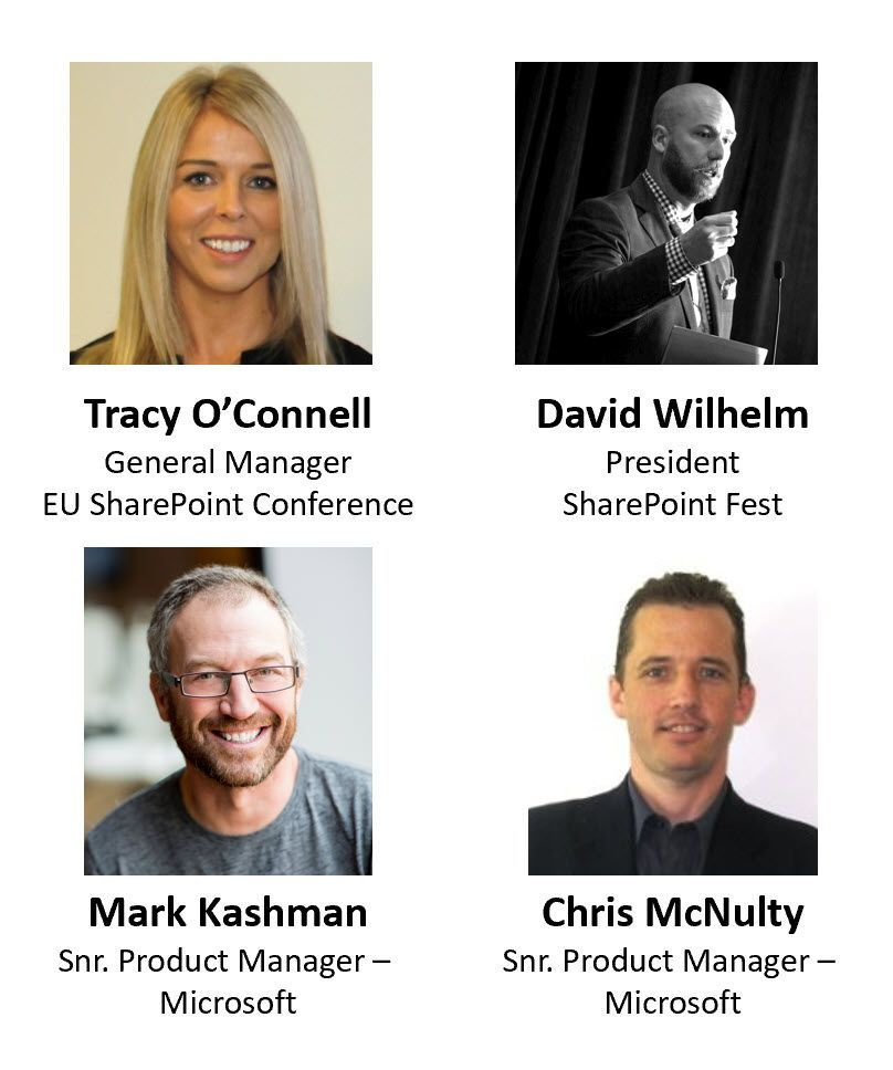 Left to right, top to bottom: Tracy O'Connell – general manager (European SharePoint Conference) [guest], David Wilhelm – president (SharePoint Fest) [guest], Mark Kashman – senior product manager (SharePoint/Microsoft) [co-host] and Chris McNulty – senior product manager (SharePoint/Microsoft) [co-host].