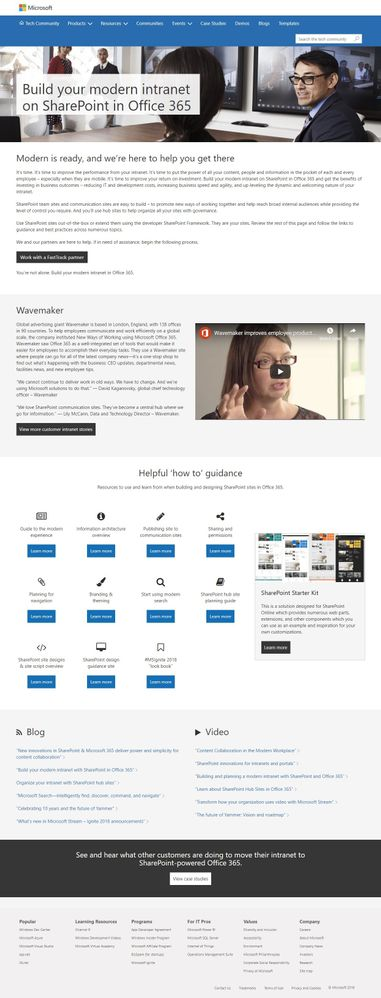 """Full screenshot of what the new """"Build your modern intranet on SharePoint in Office 365"""" looks like; https://aka.ms/SharePoint-build-modern-intranet."""