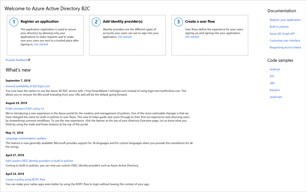New and improved Azure AD B2C Overview blade.