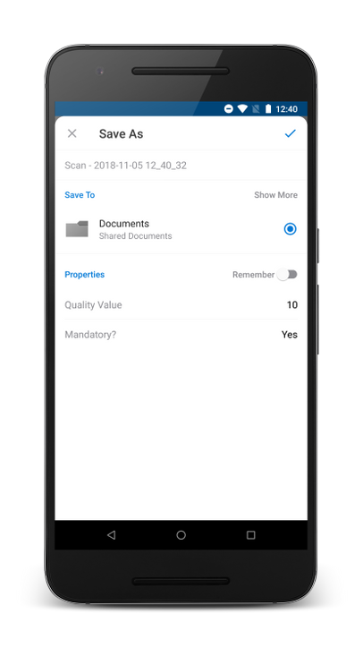 Mobile Capture with custom metadata in OneDrive on Android