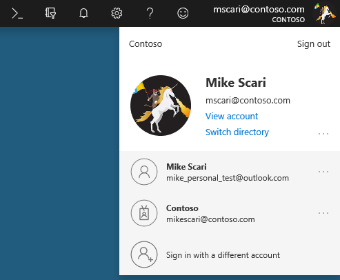 The new Microsoft account manager in the Azure portal.