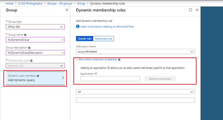 Creating a dynamic membership rule in Azure Active Directory.