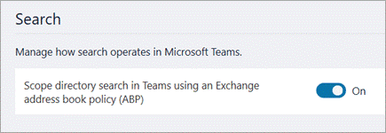 Enabling scoped directory search in Teams admin center.