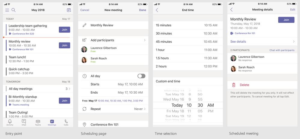Schedule Microsoft Teams meetings from your mobile device.