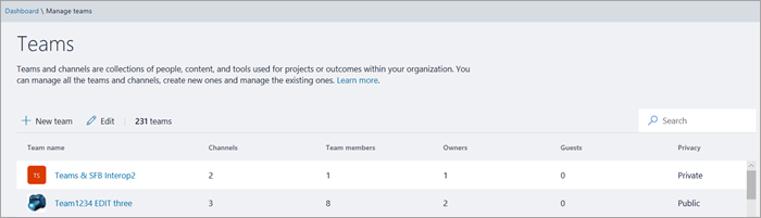 Manage your teams directly from the Admin Center