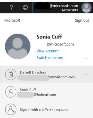 Microsoft account manager, showing Azure AD and Microsoft accounts