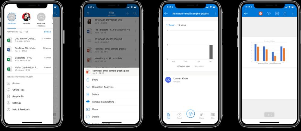 MyAnalytics Update for OneDrive mobile