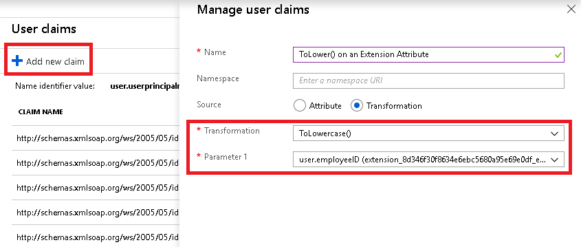 Adding a new claim using the ToLowercase() transformation on an extension attribute