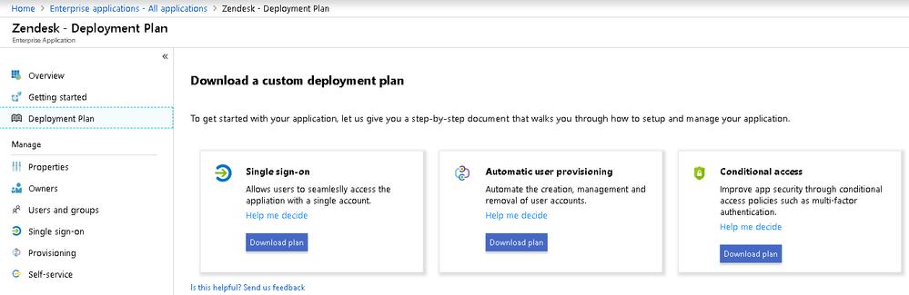 Pre-built deployment plans in the Azure Portal