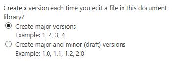 No versioning option missing