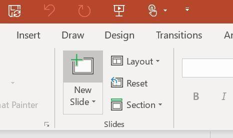 """New laptop - no """"reuse slides"""""""