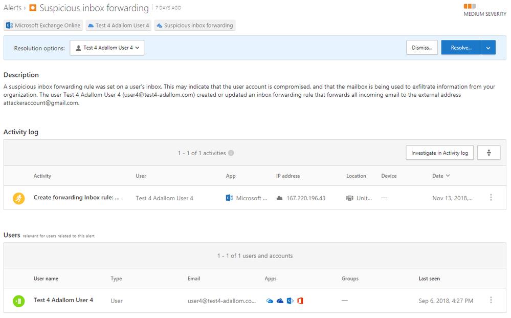 Image 2: Suspicious inbox forwarding rules - detailed description