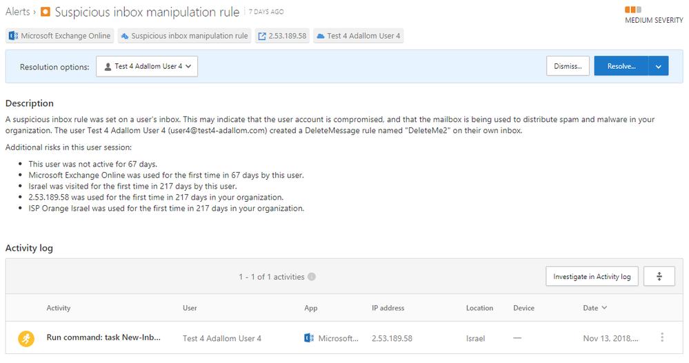 Image 3: Suspicious inbox manipulation rule - detailed alert description