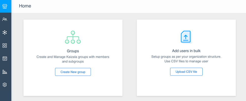 Create groups, add users from the Kaizala management portal