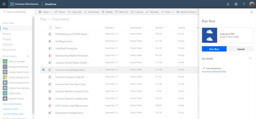 Microsoft Flow Integration in OneDrive
