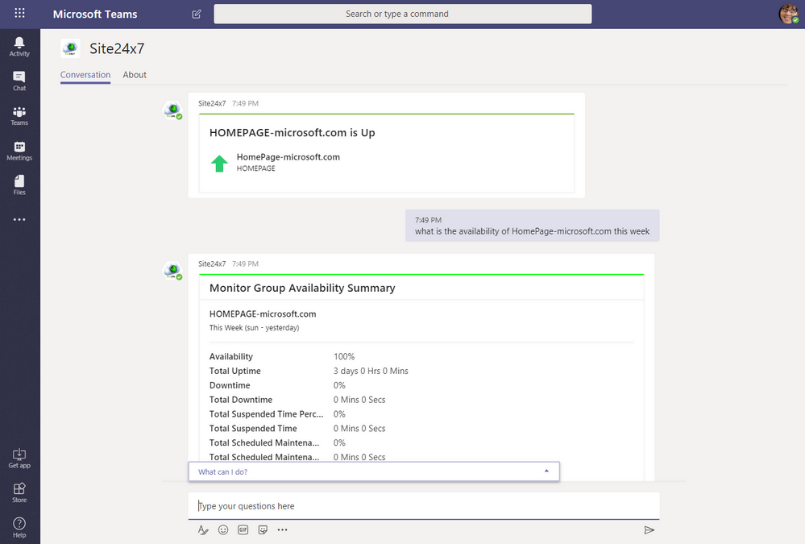 Avoid downtime with the Site24x7's updated app for Microsoft Teams.