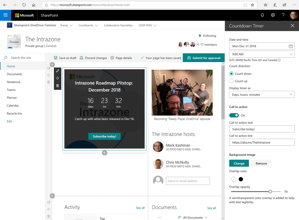 Using the Countdown timer web part (in edit mode) on The Intrazone SharePoint team site we use to plan for the show.