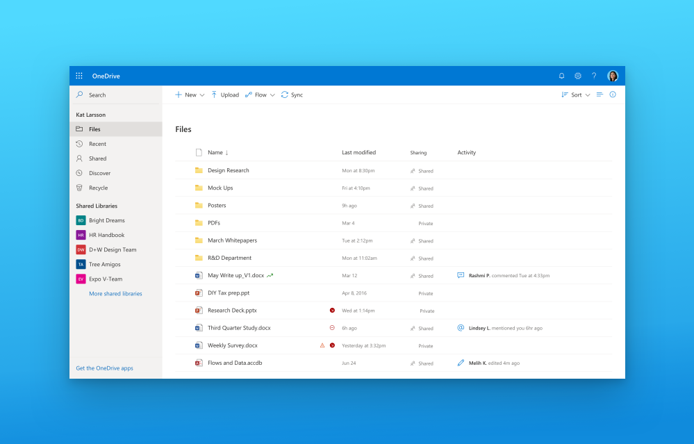 We've aligned on a new Fluent design across the Office apps including a coherent product header and navigation, simplified font styles, warmer color palette, thoughtful elevation system, golden folders and more.