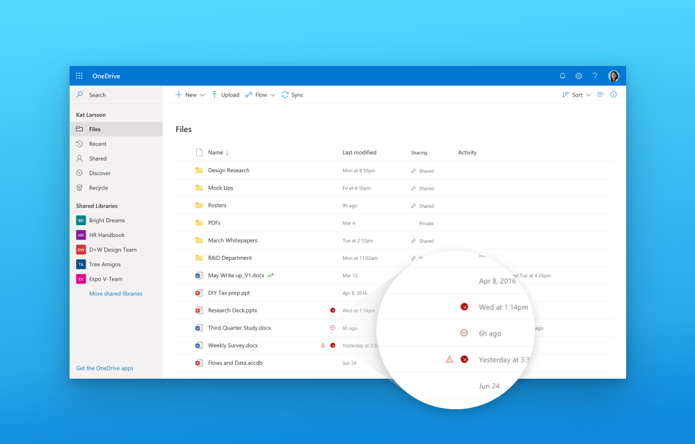 Easily stay up to date on your file activity.
