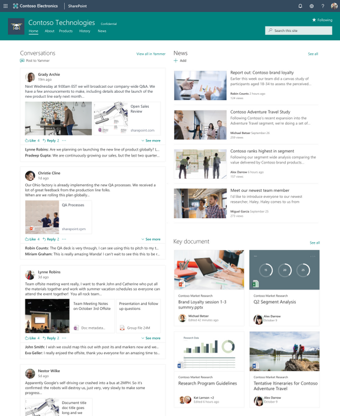 Add a fully interactive Yammer conversations web part to any SharePoint page, news article or site.