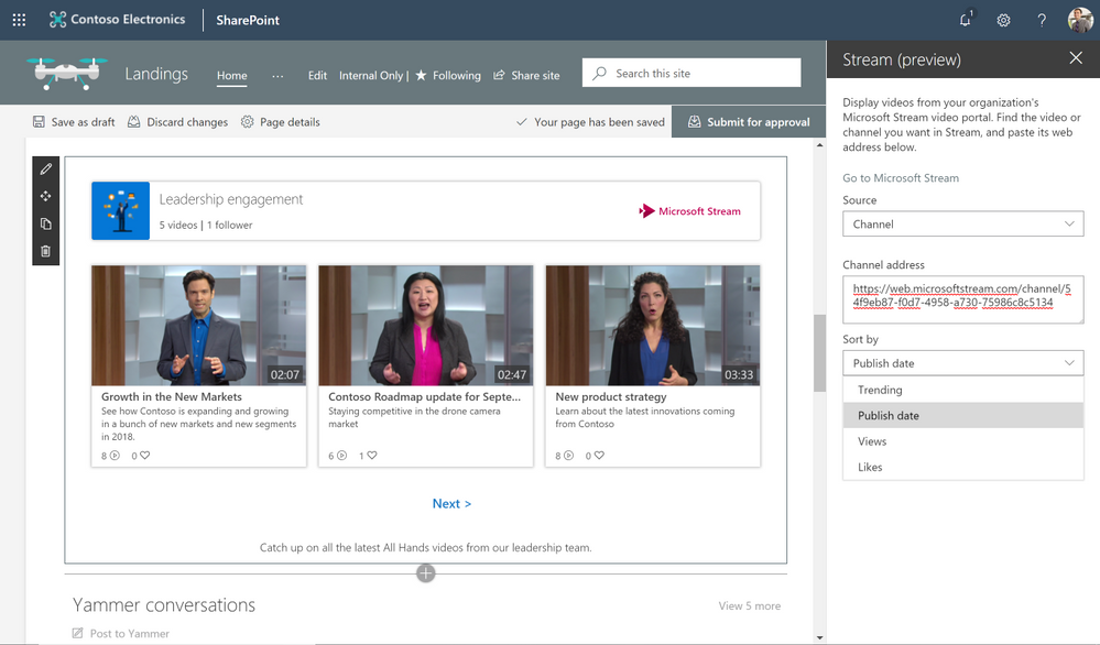 You can choose the sorting order of a Microsoft Stream channel when you add it to a SharePoint page in Office 365.