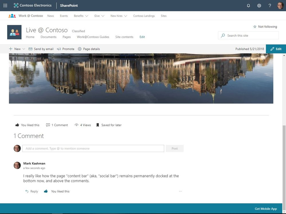 The content bar that show a SharePoint page or news article likes, views, comments and Save for later, will now always appear at the bottom above comments.