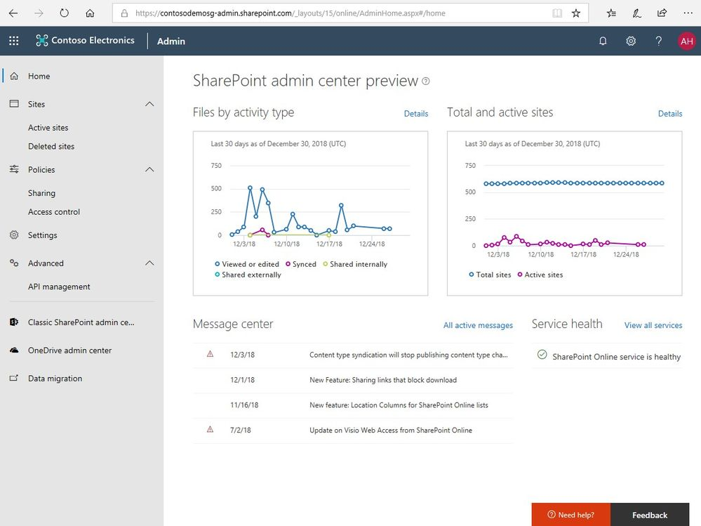 The main new Home screen for the SharePoint admin center in Office 365 - showing new activity graphs, message center posts and service health information.