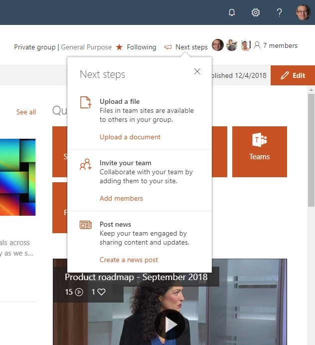 Get tips and tricks inline when you are working within SharePoint in Office 365 with Next steps at the top of the page.