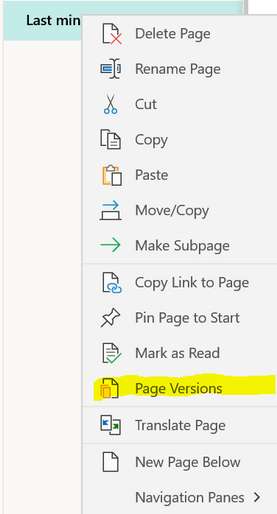 Image showing Page Version options