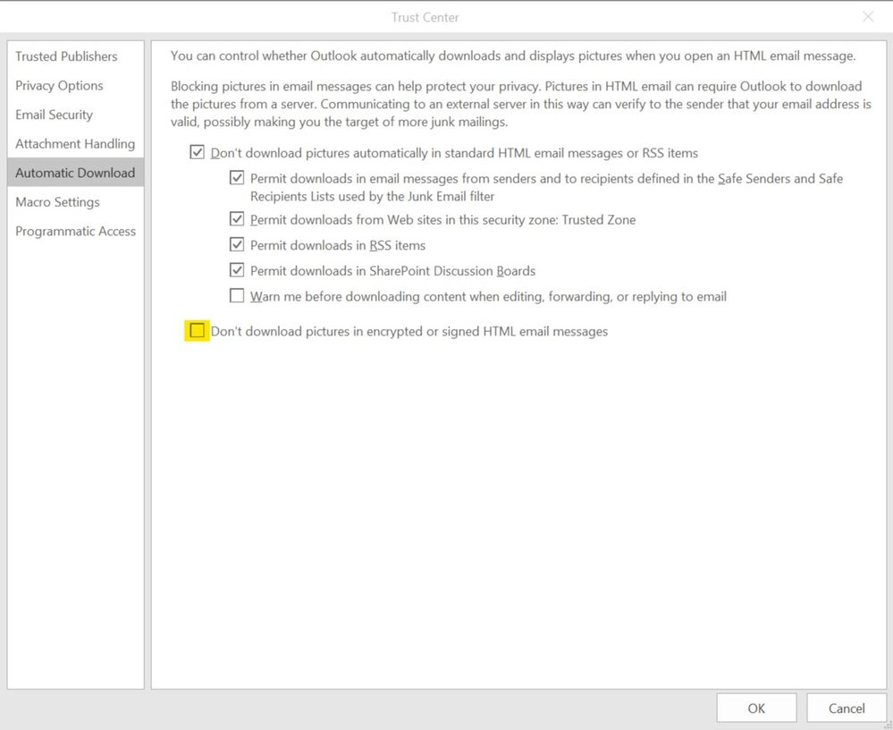 Trust Center Setting in MS Outlook