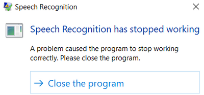 windows speech recognition stopped wrkg.PNG