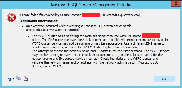 Create Listener Fails with Message 'The WSFC cluster could not bring the Network Name resource online'