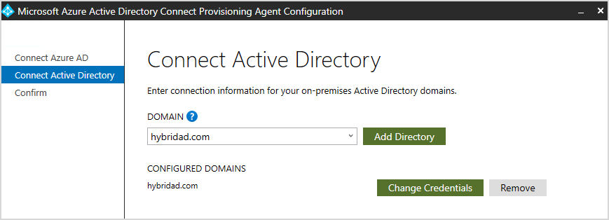 Provisioning Agent Configuration wizard.