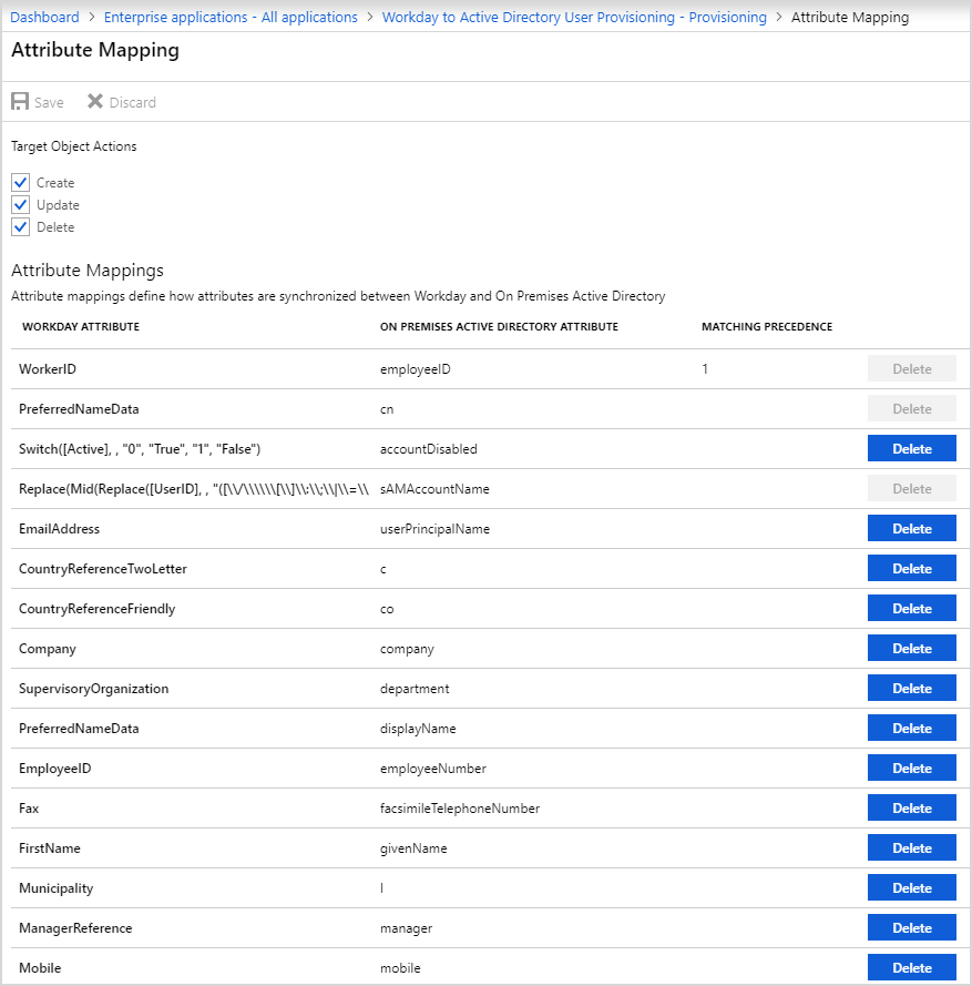 Workday to Active Directory attribute mapping.
