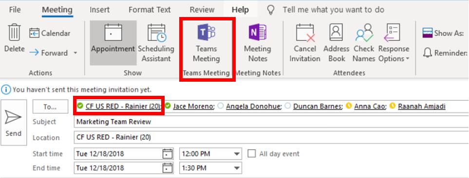 Schedule Teams in Outlook