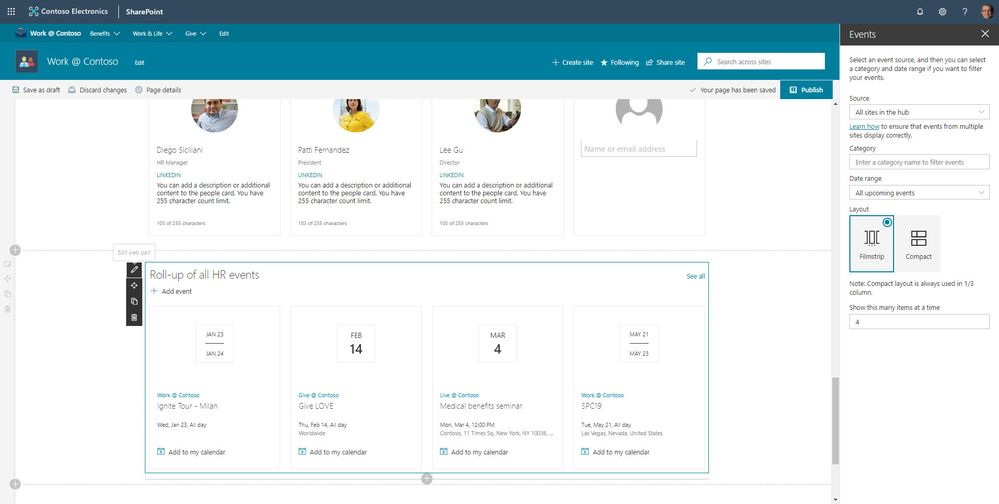 The SharePoint Events web part can now roll up event items from across numerous sites, and better control how they appear on the page. Note the teal hyperlinks text showing the site each event is aggregated from.