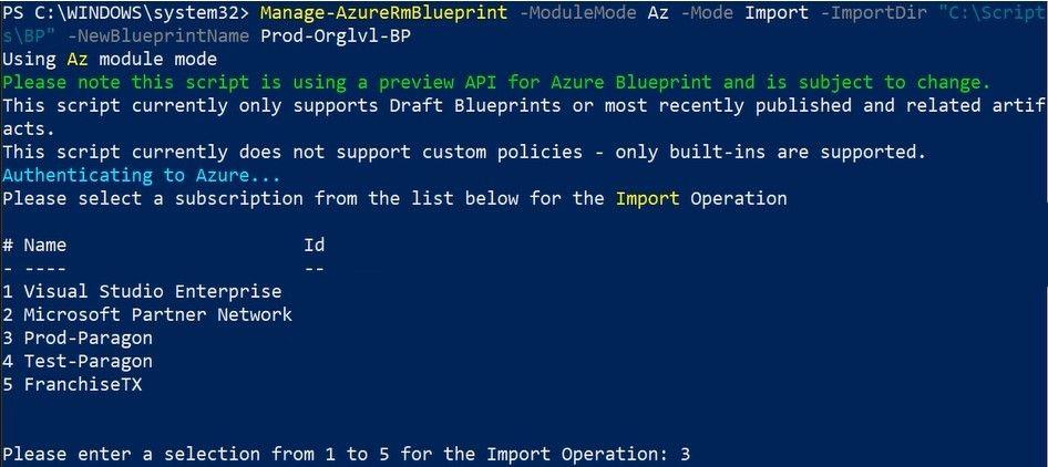 Manage-AzureRMBlueprint Import mode