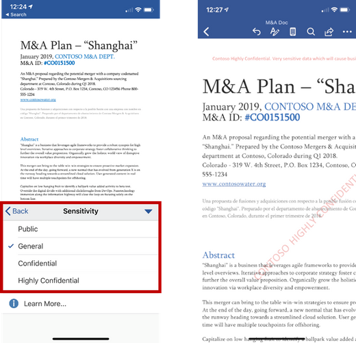 Easily apply same sensitivity labels in Office mobile apps on iOS…
