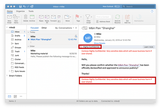 "An email labeled ""Highly Confidential"" in Outlook for Mac get encrypted, and headers & footers are applied."