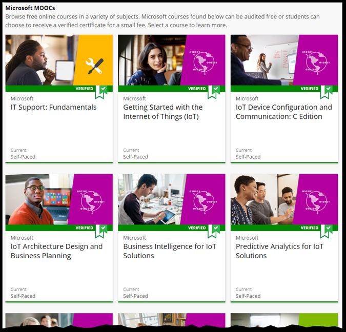 Just a few of the Microsoft MOOCs on edX