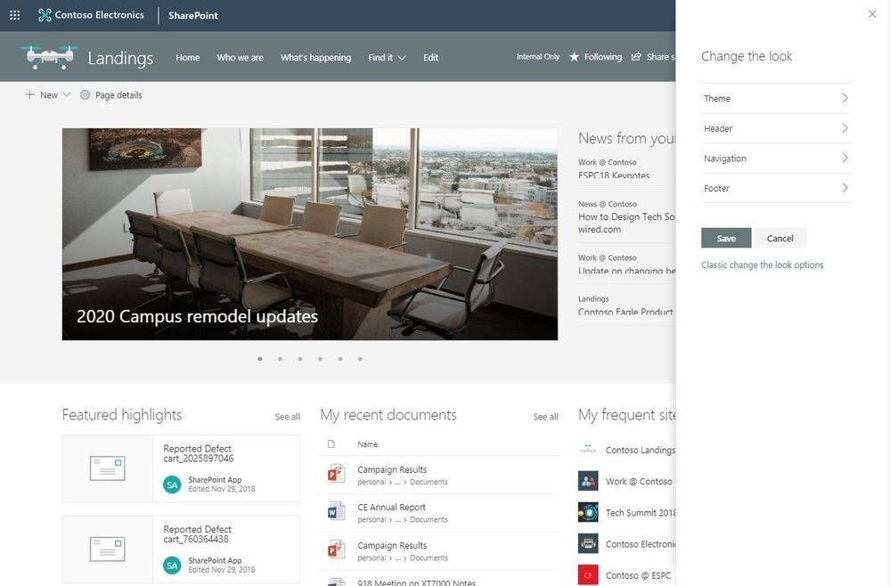 The updated Change the look panel gives you easier access to adjust site theme, navigation, header and footer configuration.