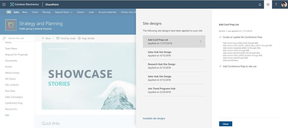 The Site designs site settings pane allows site owners to view any applied site designs and apply additional ones.